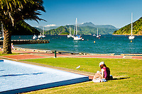 Picton Harbour and relaxing women - Marlborough, New Zealand