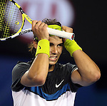 Rafael Nadal (ESP) in action against Fernando Verdasco(ESP) on day 12 of the Australian Open Tennis , 30-1-09