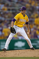 LSU Tigers pitcher Brent Bonvillain #49 delivers during the NCAA Super Regional baseball game against Stony Brook on June 10, 2012 at Alex Box Stadium in Baton Rouge, Louisiana. Stony Brook defeated LSU 7-2 to advance to the College World Series. (Andrew Woolley/Four Seam Images)