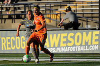 Yael Averbuch (13) of Sky Blue FC is trailed by Holmfridur Magnusdottir (26) of the Philadelphia Independence. The Philadelphia Independence defeated Sky Blue FC 2-1 during a Women's Professional Soccer (WPS) match at John A. Farrell Stadium in West Chester, PA, on June 6, 2010.
