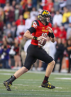 College Park, MD - November 25, 2017: Maryland Terrapins quarterback Max Bortenschlager (18) scrambles during game between Penn St and Maryland at  Capital One Field at Maryland Stadium in College Park, MD.  (Photo by Elliott Brown/Media Images International)