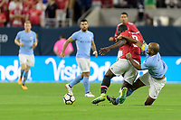 Houston, TX - Thursday July 20, 2017: Romelu Lukaku and Vincent Kompany during a match between Manchester United and Manchester City in the 2017 International Champions Cup at NRG Stadium.