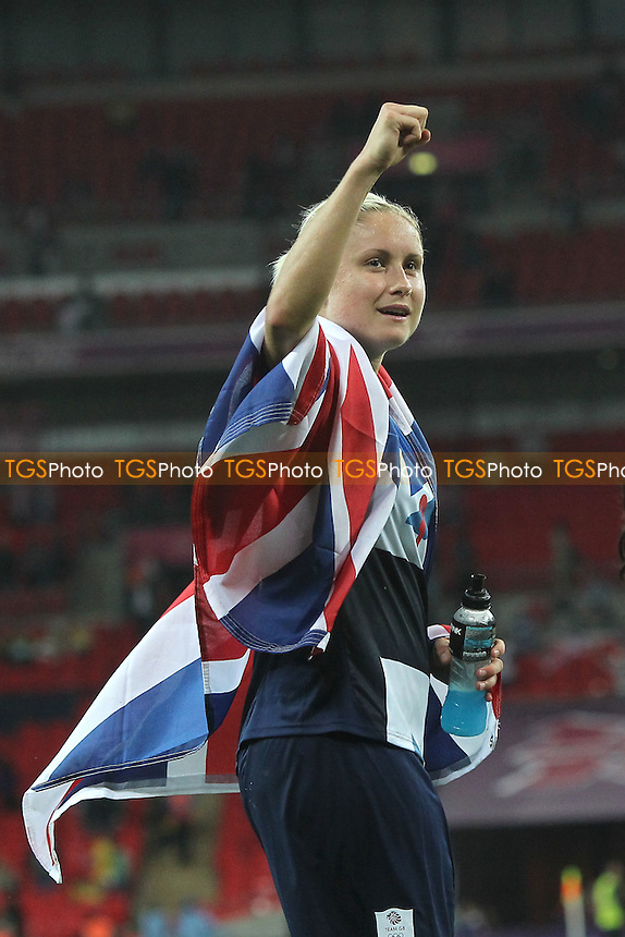 Delight for Stephanie HOUGHTON of Great Britain at the final whistle - Great Britain Women vs Brazil Women - Womens Olympic Football Tournament London 2012 Group E at Wembley Stadium, London - 31/07/12 - MANDATORY CREDIT: Gavin Ellis/SHEKICKS/TGSPHOTO - Self billing applies where appropriate - 0845 094 6026 - contact@tgsphoto.co.uk - NO UNPAID USE.