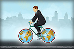 Illustrative image of businessman riding bicycle with globe tires representing global business travel