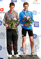 Photo: Richard Lane/Richard Lane Photography. GE Parc Bryn Bach Triathlon. 19/09/2010. (lt to rt) Alistair Brownlee and  Jonathan Brownlee (joint 1st)  of England on the podium after the Elite Mens' race.
