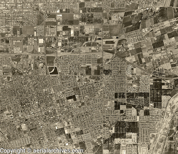 historical aerial photograph Anaheim, California, 1963
