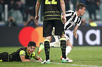 Football Soccer: UEFA Champions League Juventus vs Sporting Clube de Portugal, Allianz Stadium. Turin, Italy, October 18, 2017. <br /> Juventus' Mario Mandzukic (r) celebrates after scoring during the Uefa Champions League football soccer match between Juventus and Sporting Clube de Portugal at Allianz Stadium in Turin, October 18, 2017.<br /> UPDATE IMAGES PRESS/Isabella Bonotto