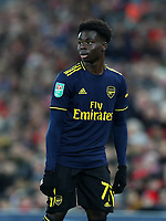30th October 2019; Anfield, Liverpool, Merseyside, England; English Football League Cup, Carabao Cup, Liverpool versus Arsenal; Bukayo Saka of Arsenal  - Strictly Editorial Use Only. No use with unauthorized audio, video, data, fixture lists, club/league logos or 'live' services. Online in-match use limited to 120 images, no video emulation. No use in betting, games or single club/league/player publications
