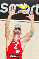 Germany's Kay Matysik in action at the Beach Volleyball World Tour Grand Slam, Foro Italico, Rome, 22 June 2013. Brazil defeated Germany 2-0.<br /> UPDATE IMAGES PRESS/Isabella Bonotto