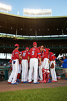 General view of the National team before taking the field during the Under Armour All-American Game presented by Baseball Factory on July 29, 2017 at Wrigley Field in Chicago, Illinois.  (Mike Janes/Four Seam Images)