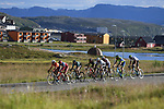 The breakaway group in action during Stage 3 of the 2018 Artic Race of Norway, running 194km from Honningsvg to Hammerfest, Norway. 18th August 2018. <br /> <br /> Picture: ASO/Pauline Ballet | Cyclefile<br /> All photos usage must carry mandatory copyright credit (© Cyclefile | ASO/Pauline Ballet)