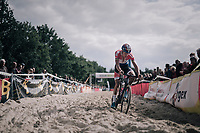 race leader Mathieu van der Poel (NED/Beobank-Corendon) plowing through the sand<br /> <br /> CX Brico Cross Eeklo 2017 (BEL)