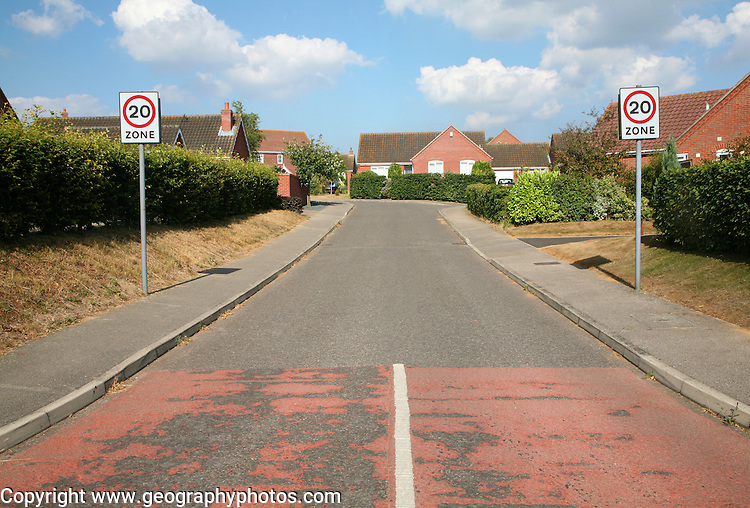 Traffic speed restriction 20 mph residential zone street in the village of Reedham, Norfolk, England