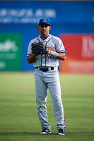 St. Lucie Mets Enmanuel Zabala (10) warms up before a game against the Dunedin Blue Jays on April 19, 2017 at Florida Auto Exchange Stadium in Dunedin, Florida.  Dunedin defeated St. Lucie 9-1.  (Mike Janes/Four Seam Images)