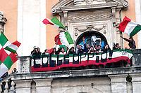 Rome  April 28, 2008 .Sostenitori del candidato  del cemtro destra Gianni Alemanno festeggiano la vittoria alle elezione per sindaco di Roma in piazza del Campidoglio  con il saluto fascista