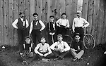 """The """"Farmers"""" baseball team from the Waterbury Watch Company taken on June 4, 1892.  The """"Farmers"""" from the Finishing Department were about to play the """"Ink Slingers  from the Sales Department.  Pictured here are players (unknown order) named Herr, Klobedanz, McKeever, Kinney, Robbins, Culligan, Holmes, Claxton and Lathrop."""
