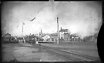 Frederick Stone negative. NY and NE train yard 1888.