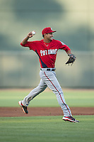 Potomac Nationals third baseman Drew Ward (17) makes a throw to first base against the Winston-Salem Dash at BB&T Ballpark on May 13, 2016 in Winston-Salem, North Carolina.  The Dash defeated the Nationals 5-4 in 11 innings.  (Brian Westerholt/Four Seam Images)