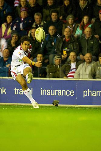 27.02.2011. Wigan Warriors v St George Illawarra Dragons. Jamie Soward kicks a conversion for St George. Wigan Warriors 15 St George Illawarra Dragons 21.