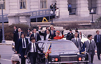 Washington DC., USA, January 20, 1981 <br /> Newly sworn in as the 40th  President of the United States Ronald Reagan and his wife Nancy depart the United States Capitol on route to their inaugural parade. Credit: Mark Reinstein/MediaPunch