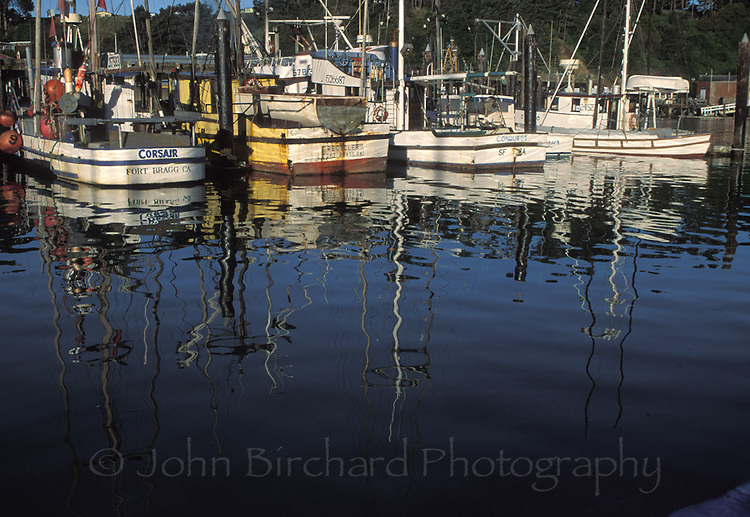 Fishing boats stationed in Noyo Harbour, Fort Bragg California