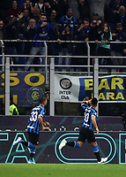 Calcio, Serie A: Inter Milano - Juventus, Giuseppe Meazza stadium, October 6 2019.<br /> Inter's Lautaro Martinez (r) celebrates after scoring with his teammate Danilo D'ambrosio (l) during the Italian Serie A football match between Inter and Juventus at Giuseppe Meazza (San Siro) stadium, October 6, 2019.<br /> UPDATE IMAGES PRESS/Isabella Bonotto