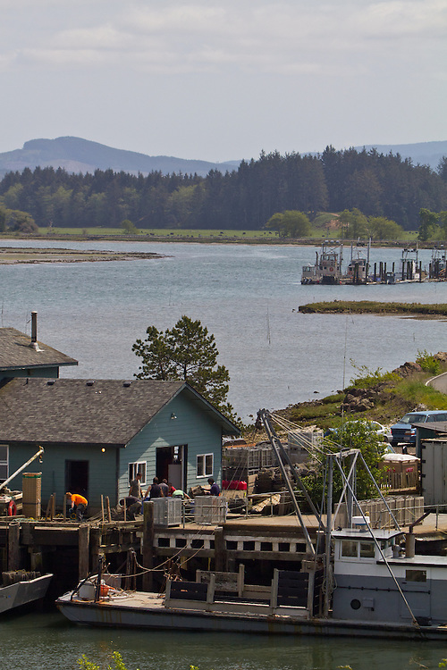 Washington Coast, Bay Center, oyster scows, oyster processing plants, commercial oyster farming, Willapa Bay, Pacific County, Southwest Washington, Washington State, Pacific Northwest, USA,