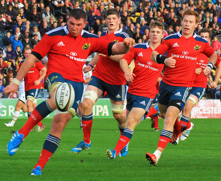 Munsters Paddy Butler looks to clear his lines<br /> <br /> Photographer Rachel Holborn/CameraSport<br /> <br /> Rugby Union - British and Irish Cup - Worcester Warriors v Munster A - Saturday 18th October 2014 - Sixways Stadium - Warriors Way - Worcester<br /> <br /> &copy; CameraSport - 43 Linden Ave. Countesthorpe. Leicester. England. LE8 5PG - Tel: +44 (0) 116 277 4147 - admin@camerasport.com - www.camerasport.com