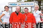 John Riordan and his navigator Donal Falvey both from Killarney celebrate their 3rd overall in the National section of the Rally of the Lakes at the finish ramp outside the Gleneagle hotel in killarney last Sunday evening.