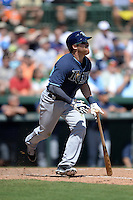 Tampa Bay Rays infielder Jake Elmore (83) during a Spring Training game against the Baltimore Orioles on March 14, 2015 at Ed Smith Stadium in Sarasota, Florida.  Tampa Bay defeated Baltimore 3-2.  (Mike Janes/Four Seam Images)