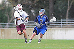 Los Angeles, CA 02/18/11 - Nick Roessler (LMU #5) and Drew Shumway (BYU #2) in action during the Loyola Marymount - BYU game at LMU.