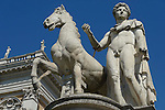 A statue of one of the Dioscuri at the top of the Cordonata in the Capitol district of Rome.
