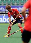 The Hague, Netherlands, June 10: Jonghyun Jang #25 of Korea in action during the field hockey group match (Men - Group B) between Germany and Korea on June 10, 2014 during the World Cup 2014 at Kyocera Stadium in The Hague, Netherlands. Final score 6-1 (3-0) (Photo by Dirk Markgraf / www.265-images.com) *** Local caption ***