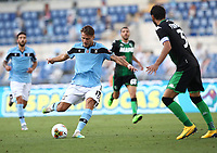 Football, Serie A: S.S. Lazio - Sassuolo, Olympic stadium, Rome, July 11, 2020. <br /> Lazio's Ciro Immobile (l) in action with Sassuolo's Gian Marco Ferrari (r) during the Italian Serie A football match between S.S. Lazio and Sassuolo at Rome's Olympic stadium, Rome, on July 11, 2020. <br /> UPDATE IMAGES PRESS/Isabella Bonotto