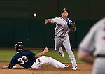 Reno Aces Konrad Schmidt breaks up the double play by Round Rock Express shortstop Luis Hernandez during their game on Thursday night August 16, 2012 at Aces Ballpark in Reno NV.
