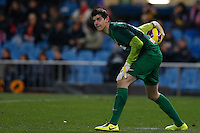 20.01.2013 SPAIN -  La Liga 12/13 Matchday 20th  match played between Atletico de Madrid vs Levante Union Deportiva (2-0) at Vicente Calderon stadium. The picture show Thibaut Courtois (Belgian goalkeeper of At. Madrid)