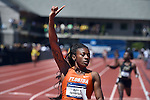 13 JUNE 2015: Kyra Jefferson of Florida celebrates as she crosses the finish line after anchoring the Florida to the NCAA Championship in the Women's 4X100 meter relay during the Division I Men's and Women's Outdoor Track & Field Championship held at Hayward Field in Eugene, OR.  Florida won the event in a time of 42.95. Steve Dykes/ NCAA Photos