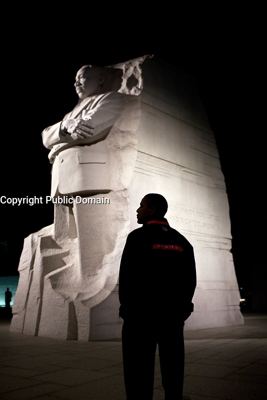President Barack Obama tours the Martin Luther King Memorial in Washington, D.C., Oct. 14, 2011. (Official White House Photo by Pete Souza)<br /> <br /> This official White House photograph is being made available only for publication by news organizations and/or for personal use printing by the subject(s) of the photograph. The photograph may not be manipulated in any way and may not be used in commercial or political materials, advertisements, emails, products, promotions that in any way suggests approval or endorsement of the President, the First Family, or the White House.&nbsp;
