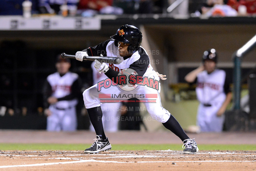 Rochester Red Wings outfielder Antoan Richardson (59) during an International League playoff game against the Pawtucket Red Sox on September 5, 2013 at Frontier Field in Rochester, New York.  Pawtucket defeated Rochester 7-2.  (Mike Janes/Four Seam Images)