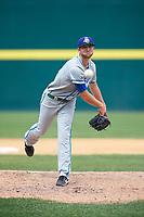 Hartford Yard Goats relief pitcher Konner Wade (30) during a game against the Binghamton Rumble Ponies on July 9, 2017 at NYSEG Stadium in Binghamton, New York.  Hartford defeated Binghamton 7-3.  (Mike Janes/Four Seam Images)