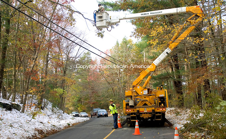 WOLCOTT, CT. 31 October 2011-102281SV08--A CL&amp;P crew removes a tree limb from primary power lines on Wolfs Hill Road in Wolcott Monday. Crews were removing the tree limbs so when the power system comes back on it won't fail again.<br /> Steven Valenti Republican-American