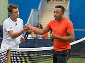 June 11th 2017, Nottingham, England; ATP Aegon Nottingham Open Tennis Tournament day 2;  Alex De Minaur of Australia on the left after his victory over Curtis Clarke of Great Britain