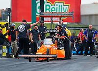 May 19, 2017; Topeka, KS, USA; Crew members for NHRA top fuel driver Mike Salinas during qualifying for the Heartland Nationals at Heartland Park Topeka. Mandatory Credit: Mark J. Rebilas-USA TODAY Sports