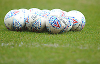 Mitre match balls on the pitch during the pre-match warm-up <br /> <br /> Photographer Kevin Barnes/CameraSport<br /> <br /> The EFL Sky Bet League One - Blackpool v Plymouth Argyle - Saturday 30th March 2019 - Bloomfield Road - Blackpool<br /> <br /> World Copyright © 2019 CameraSport. All rights reserved. 43 Linden Ave. Countesthorpe. Leicester. England. LE8 5PG - Tel: +44 (0) 116 277 4147 - admin@camerasport.com - www.camerasport.com