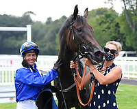Winner of The British Stallion Studs EBF Odstock Fillies' Handicap Almareekh ridden by Jim Crowley and trained by Sir Michael Stoute in the Winners enclosure during Horse Racing at Salisbury Racecourse on 13th August 2020