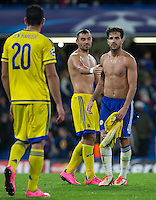 Cesc Fabregas of Chelsea at the final whistle after swapping shirts with Nikola Mitrovic of Maccabi Tel Aviv during the UEFA Champions League match between Chelsea and Maccabi Tel Aviv at Stamford Bridge, London, England on 16 September 2015. Photo by Andy Rowland.