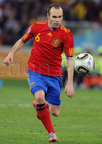 Andres Iniesta of Spain in action during the 2010 FIFA World Cup Semi Final soccer match between Germany and Spain at Princess Magogo Stadium on July 7, 2010 in Durban, South Africa.