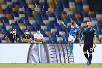 Lorenzo Insigne of SSC Napoli celebrates after scoring a goal<br /> during the Serie A football match between SSC  Napoli and SS Lazio at stadio San Paolo in Naples ( Italy ), August 01st, 2020. Play resumes behind closed doors following the outbreak of the coronavirus disease. <br /> Photo Cesare Purini / Insidefoto