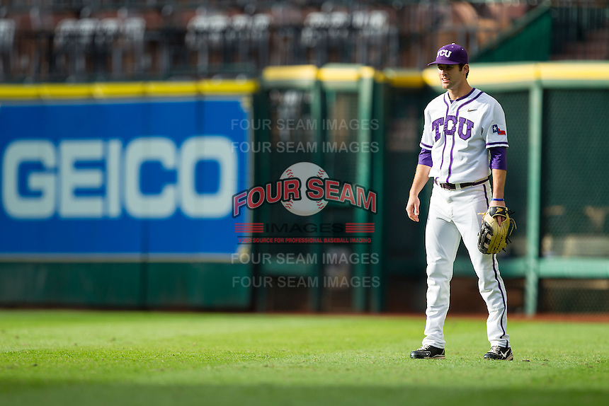 Texas Christian Horned Frogs right fielder Dylan Fitzgerald #38 on defense against the Sam Houston State Bearkats at Minute Maid Park on February 28, 2014 in Houston, Texas.  The Bearkats defeated the Horned Frogs 9-4.  (Brian Westerholt/Four Seam Images)
