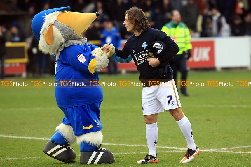 Gareth Ainsworth Player/Manager of Wycombe and Ex Wimbledon player greets the Womble mascot - AFC Wimbledon vs Wycombe Wanderers - NPower League Two Football at The Cherry Red Records Stadium, Kingston-upon-Thames, Surrey - 12/01/13 - MANDATORY CREDIT: Paul Dennis/TGSPHOTO - Self billing applies where appropriate - 0845 094 6026 - contact@tgsphoto.co.uk - NO UNPAID USE.